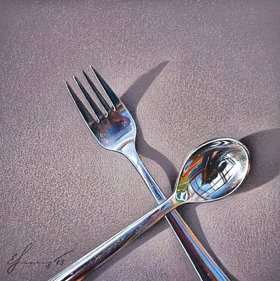 Still Life Drawing - Spoon And Fork 2 by Elena Kolotusha