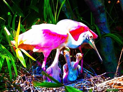 Spoonbill Mixed Media - Spoonbill Family by Michelle Stradford