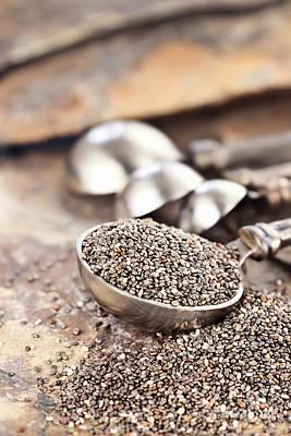 Spoonful Of Chia Seeds Art Print by Stephanie Frey