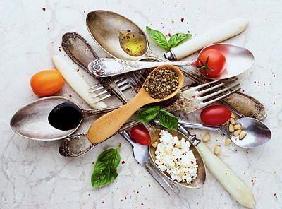 Vegetable Wall Art - Photograph - Spoons&salad by Aleksandrova Karina