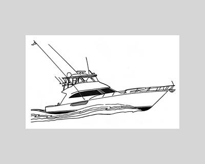 Boats In Water Drawing - Sport Fishing Yacht by Jack Pumphrey
