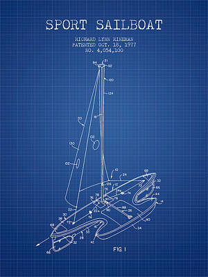 Transportation Digital Art - Sport Sailboat Patent from 1977 - Blueprint by Aged Pixel