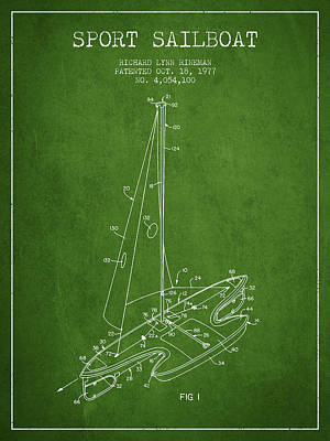 Abstract Shapes Janice Austin Royalty Free Images - Sport Sailboat Patent from 1977 - Green Royalty-Free Image by Aged Pixel