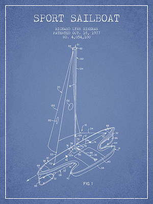 Sailboat Art Drawing - Sport Sailboat Patent From 1977 - Light Blue by Aged Pixel