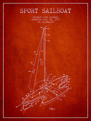 Transportation Digital Art - Sport Sailboat Patent from 1977 - Red by Aged Pixel