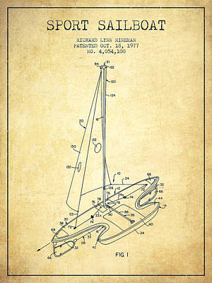 Sailboat Art Drawing - Sport Sailboat Patent From 1977 - Vintage by Aged Pixel