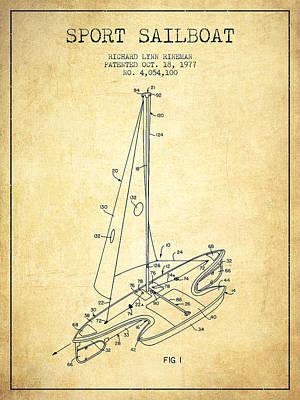 Transportation Digital Art - Sport Sailboat Patent from 1977 - Vintage by Aged Pixel