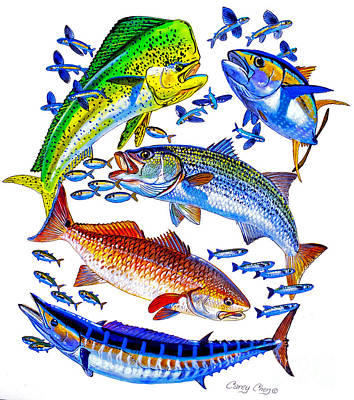 Painting - Sportfish Collage by Carey Chen