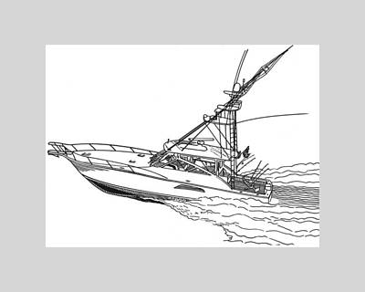 Western Yachting Drawing - Sportfishing Yacht by Jack Pumphrey