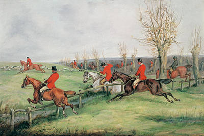 Foxes Drawing - Sporting Scene, 19th Century by Henry Thomas Alken
