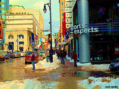 Montreal Restaurants Painting - Sports Experts Clothing Footwear St Catherine Mansfield Downtown Montreal City Scene C Spandau by Carole Spandau