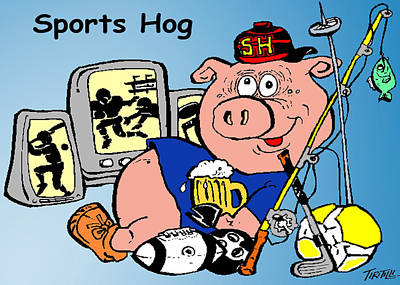 Razorback Drawing - Sports Hog by Robert Tiritilli