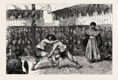 Wrestling Drawing - Sports In Japan, A Wrestling Match, Engraving 1890 by Japanese School