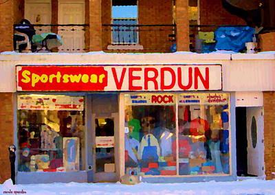 Sportswear Verdun Apparel And Accessories 3751 Wellington Montreal Winter Scene Carole Spandau Art Print