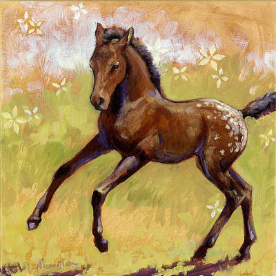 Baby Horse Painting - Spots And Flowers by Tracie Thompson