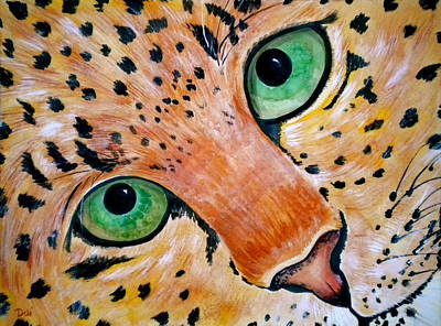 Large Cats Painting - Spotted by Debi Starr