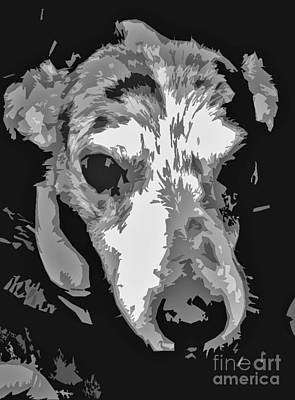 Terrier Digital Art - Spotted Dog Black And White by Minding My  Visions by Adri and Ray