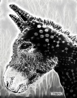 Digital Art - Spotted Donkey- Black And White by Marlene Watson