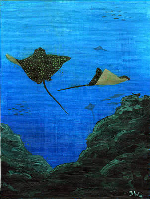 Eagle Ray Painting - Spotted Eagle Rays by Sheryl Westleigh