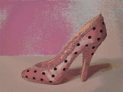 Poke Painting - Spotted High Heel by Erica  Darknell