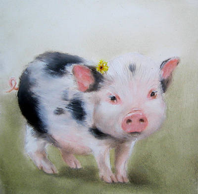 Spotted Pig Painting Art Print by Junko Van Norman