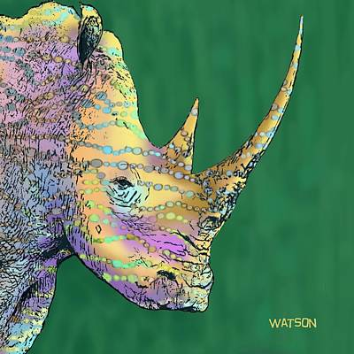 Digital Art - Spotted Rhinoceros by Marlene Watson