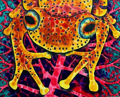 Fiber Art Painting - Spotted Tree Frog by Daniel Jean-Baptiste