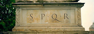Spqr Text Carved On The Stone, Piazza Art Print by Panoramic Images