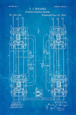 1885 Photograph - Sprague Electric Railway Patent Art 1885 Blueprint by Ian Monk