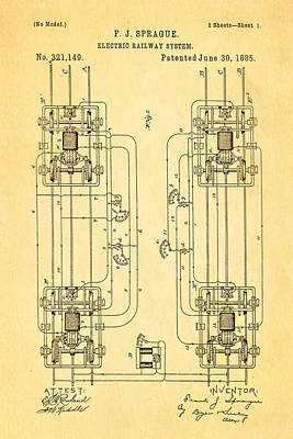 1885 Photograph - Sprague Electric Railway Patent Art 1885 by Ian Monk