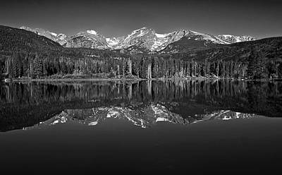 Mountain Reflection Lake Summit Mirror Photograph - Sprague Lake Reflections by Brian Kerls