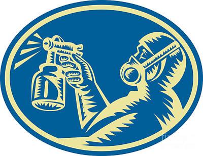 Spray Painter Spraying Gun Retro Art Print by Aloysius Patrimonio