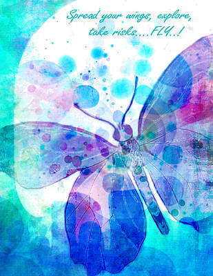 Digital Watercolor Painting - Spread Your Wings by Robin Mead