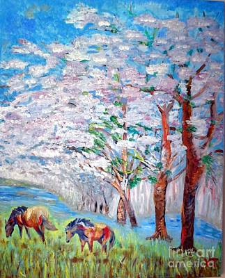 Spring And Horses 2 Art Print by Vicky Tarcau