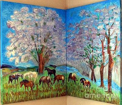 Painting - Spring And Horses Corner by Vicky Tarcau