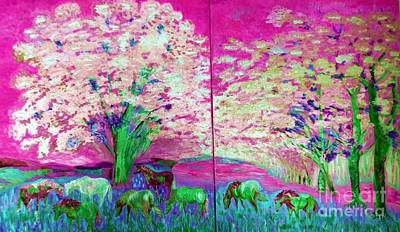 Painting - Spring And Horses Digital by Vicky Tarcau
