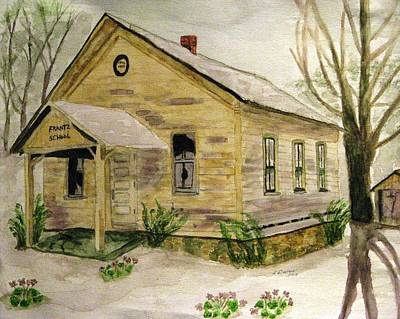 One Room School Houses Painting - Spring At Frantz School by Angela Davies