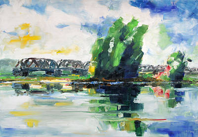Painting - Spring At River Elbe Near Doemitz Germany by Barbara Pommerenke
