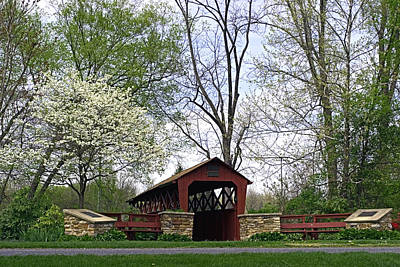 Photograph - Spring At The General Burrows Memorial Covered Bridge by Gene Walls