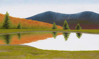 Pastel - Spring At Three Sisters Pond by Bruce Richardson