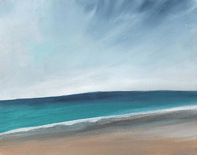 Surf Painting - Spring Beach- Contemporary Abstract Landscape by Linda Woods