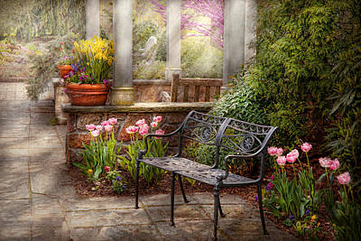 Antique Ironwork Photograph - Spring - Bench - A Place To Retire  by Mike Savad