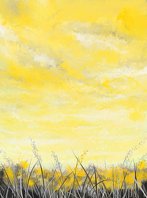 Brilliant Painting - Spring Blooms - Yellow And Gray Art by Lourry Legarde