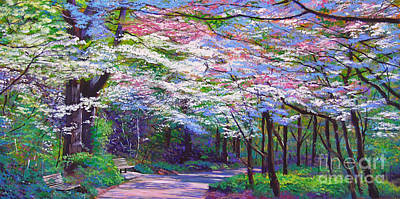 Park Scene Painting - Spring Blossom Pathway by David Lloyd Glover