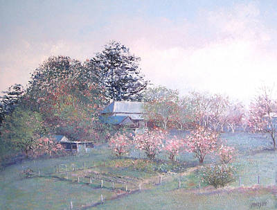 Old Farmhouse Painting - Spring Blossom Time by Jan Matson