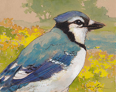 Blue Jay Painting - Spring Blue Jay 2 by Tracie Thompson