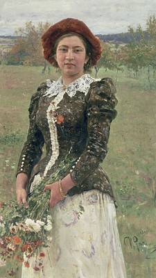 Russian Girl Wall Art - Painting - Spring Bouquet by Ilya Efimovich Repin