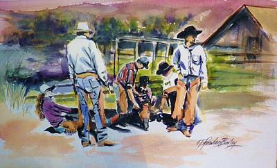 San Joaquin Painting - Spring Branding At 5 Dot Ranch by Therese Fowler-Bailey