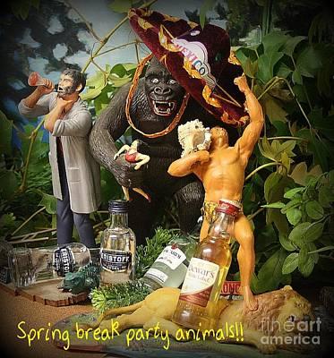 Spring Break Party Animals Art Print by John Malone