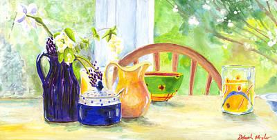 Still Life With Daffodils Painting - Spring Breakfast by Deborah Meyler
